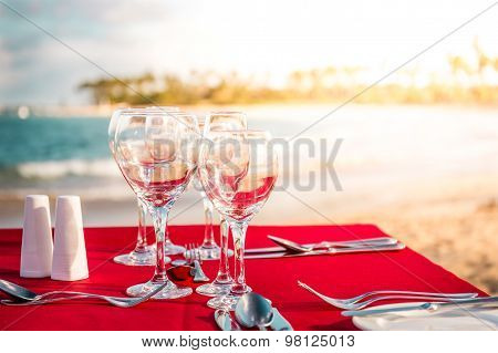Party Table On The Beach