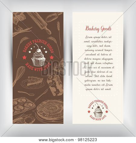 Vector bakery retro banners. Vintage Illustration.