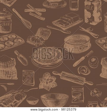 Vector seamless bakery pattern. Repeating abstract background.