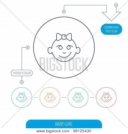 Baby girl face icon. Child with smile sign.