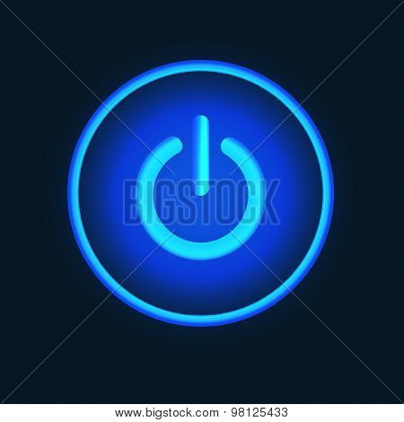 Blue neon vector  button