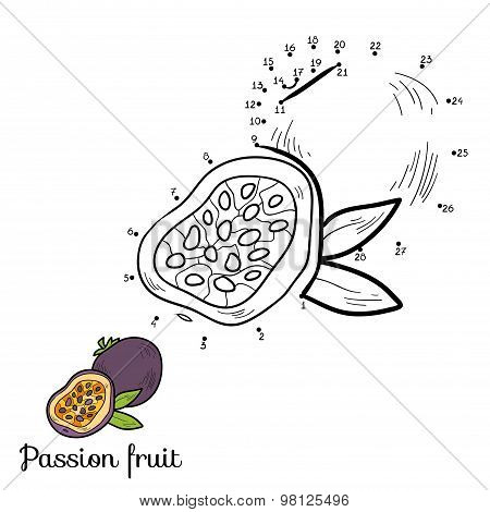 Numbers Vector Game: Fruits And Vegetables (passion Fruit)