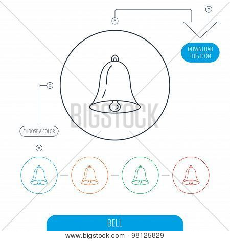 Bell icon. Sound handbell sign.