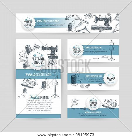Corporate identity business set design with tailor and sewing to