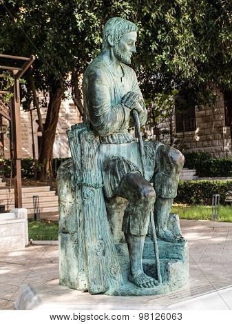 The Statue Of St.. Joseph, Guardian Of Jesus, Between The Sanctuary Of St. Joseph And The Basilica O