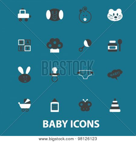 baby, children, kids, toys, garden flat isolated icons, signs, illustrations set, vector for web, application
