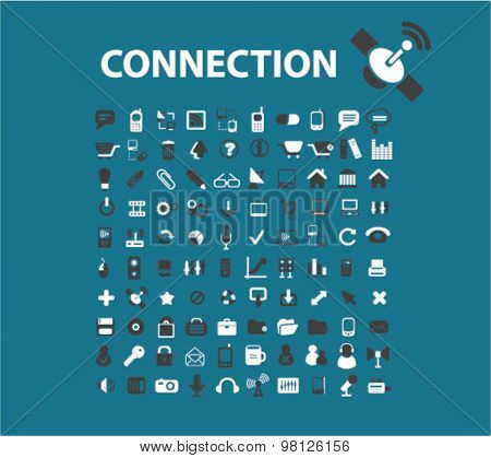connection, communication, technology flat isolated icons, signs, illustrations set, vector for web, application