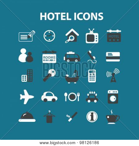 hotel, motel, travel, apartment, services flat isolated icons, signs, illustrations set, vector for web, application