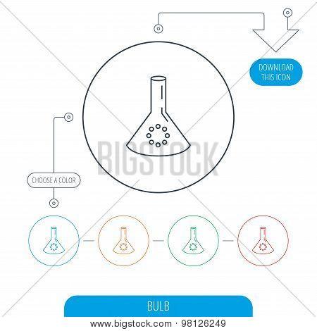 Laboratory bulb or beaker icon. Chemistry sign.