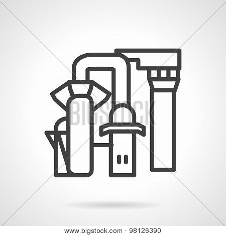 Desalination station line vector icon