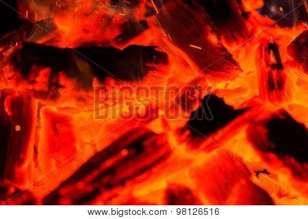 Fire, red-hot coals.