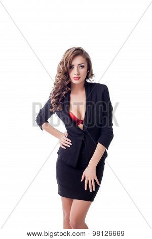 Sexy business woman with full lips