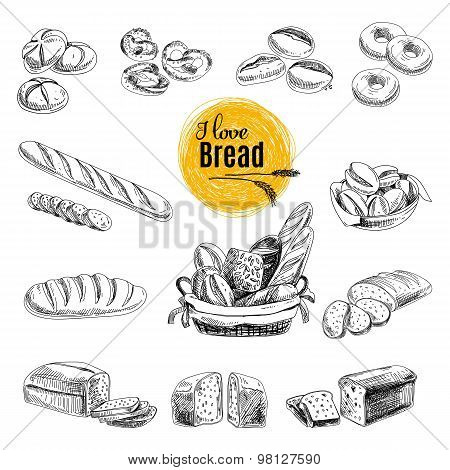Hand drawn vector set of bakery products. Sketch.