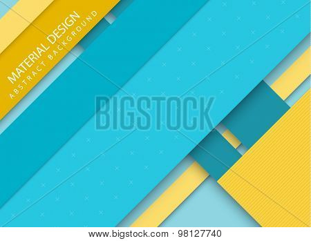 Abstract stripped background - material design style - blue and yellow version