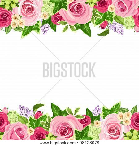 Horizontal seamless background with red and pink roses. Vector illustration.