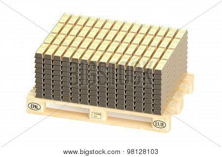 Stacks Of Gold Bars On Pallet