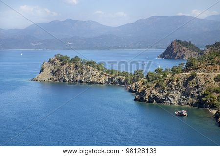 Yacht In A Bay From The Bird's-eye View Near Fethiye