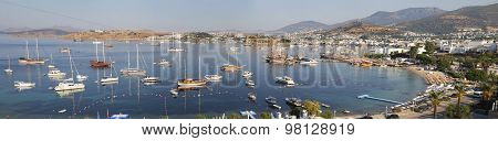 High Angle Panoramic View Of Bodrum Castle On Turkish Riviera