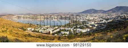 Panoramic View Of Gumbet Bay In Bodrum On Turkish Riviera