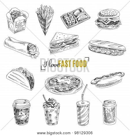 Vector set of fast food. Illustration in sketch style.