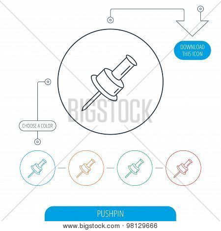 Pushpin icon. Pin tool sign.