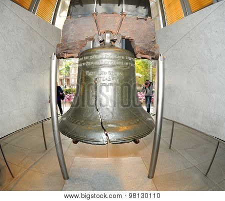 The Liberty Bell, The Symbol Of American Freedom Through A Fisheye Lens