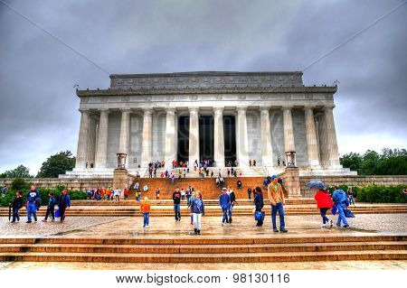 People Visiting The Famous Lincoln Memorial