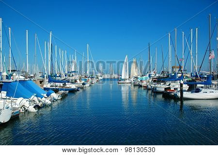 Beautiful white boats and modern yachts at the sea port near San Francisco California. Luxury lifest