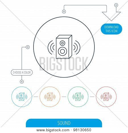 Sound icon. Musical speaker sign.