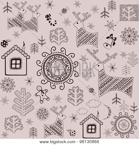 Retro wallpaper with winter print
