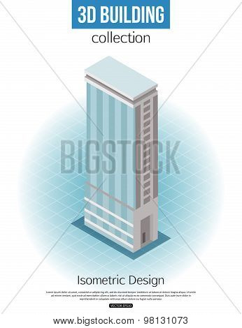 3d isometric tall building icon for map building and city constucting. Real estate concept.