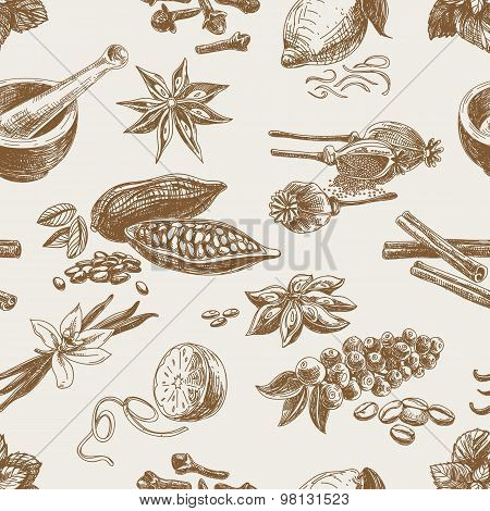 Vector seamless pattern with spices. Repeating background.