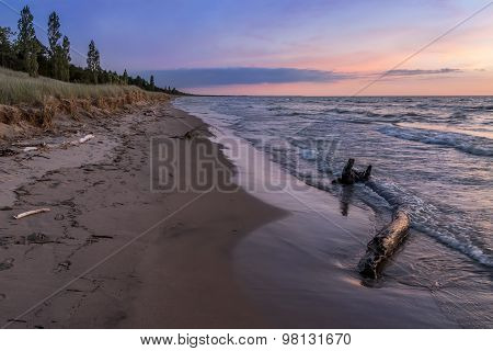 Lake Huron Beach At Twilight