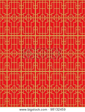 Golden seamless vintage Chinese window tracery square geometry pattern background.