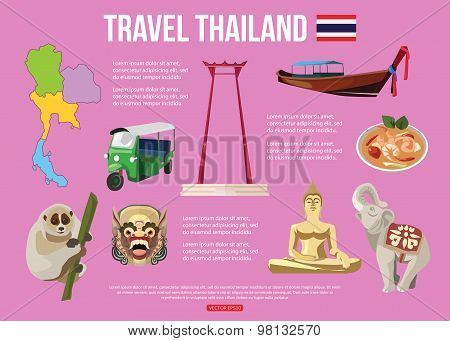 Thailand travel background with place for text. Set of colorful flat icons, Thai symbols for your de