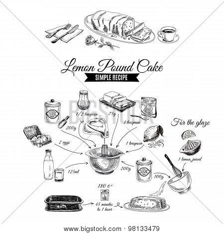 Vector hand drawn lemon cake illustration. Sketch.