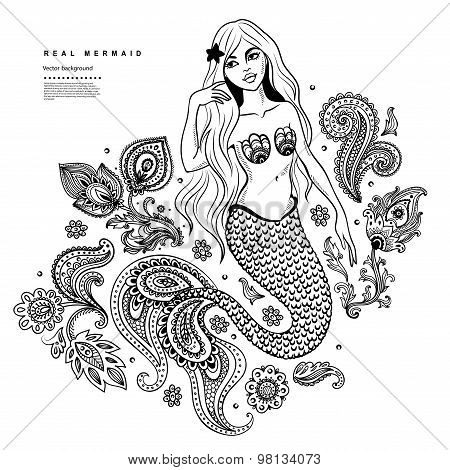 Vector beautiful mermaid illustration