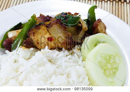 Rice And Stir-fried Crispy Pork