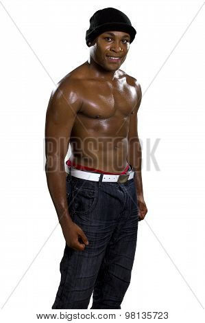 Muscular Black Man on a White Background