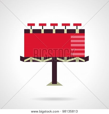 Red billboard. Flat vector icon