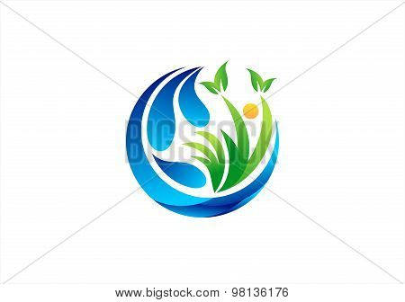 circle water plant logo,healthy wellness people natural symbol icon vector design