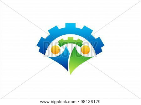 engine,mechanical team logo,gear,team work,partner,people symbol icon vector design