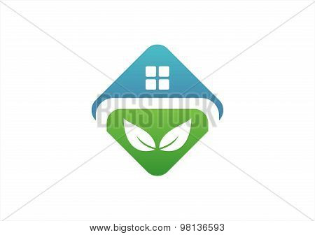 real estate logo,house nature plant building icon,shelter home symbol