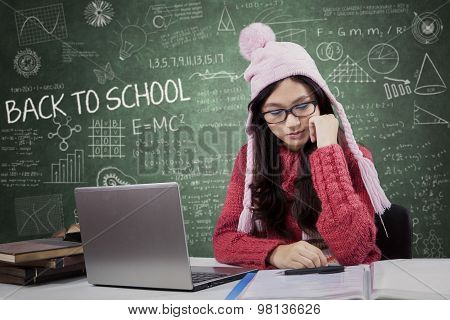 Attractive Student Back To School While Wearing Sweater