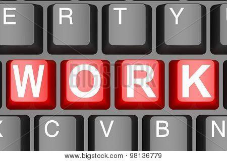 Work Word On Computer Keyboard