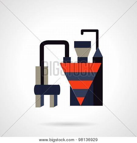Building materials plant flat vector icon