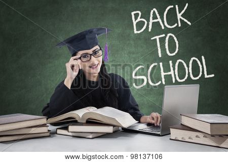 Clever Learner With Mortarboard Back To School