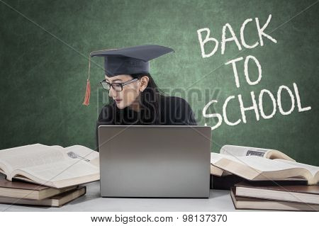 Female Bachelor With Text Of Back To School