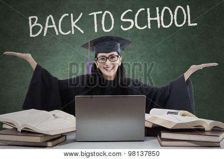 Joyful Learner With Mortarboard Back To School