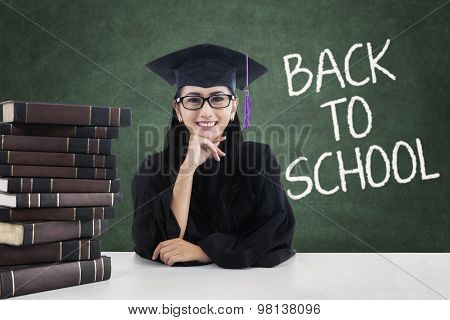 Lovely Student With Mortarboard Back To School